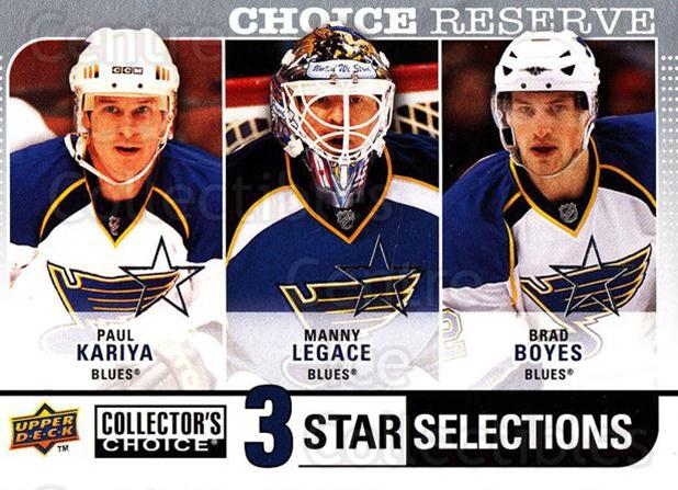 2008-09 Collectors Choice Reserve Silver #276 Paul Kariya, Manny Legace, Brad Boyes<br/>2 In Stock - $2.00 each - <a href=https://centericecollectibles.foxycart.com/cart?name=2008-09%20Collectors%20Choice%20Reserve%20Silver%20%23276%20Paul%20Kariya,%20Ma...&quantity_max=2&price=$2.00&code=525926 class=foxycart> Buy it now! </a>