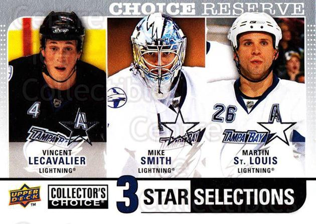 2008-09 Collectors Choice Reserve Silver #277 Vincent Lecavalier, Mike Smith, Martin St. Louis<br/>2 In Stock - $2.00 each - <a href=https://centericecollectibles.foxycart.com/cart?name=2008-09%20Collectors%20Choice%20Reserve%20Silver%20%23277%20Vincent%20Lecaval...&quantity_max=2&price=$2.00&code=525927 class=foxycart> Buy it now! </a>