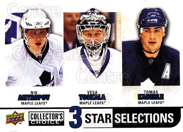 2008-09 Collectors Choice Reserve Silver #278 Nik Antropov, Vesa Toskala, Tomas Kaberle<br/>2 In Stock - $2.00 each - <a href=https://centericecollectibles.foxycart.com/cart?name=2008-09%20Collectors%20Choice%20Reserve%20Silver%20%23278%20Nik%20Antropov,%20V...&quantity_max=2&price=$2.00&code=525928 class=foxycart> Buy it now! </a>