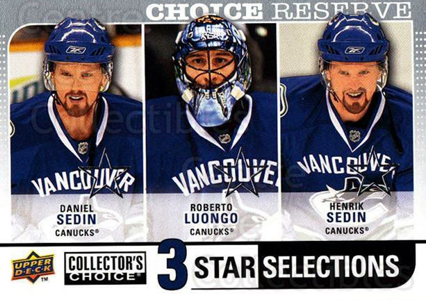 2008-09 Collectors Choice Reserve Silver #279 Daniel Sedin, Roberto Luongo, Henrik Sedsin<br/>1 In Stock - $2.00 each - <a href=https://centericecollectibles.foxycart.com/cart?name=2008-09%20Collectors%20Choice%20Reserve%20Silver%20%23279%20Daniel%20Sedin,%20R...&price=$2.00&code=525929 class=foxycart> Buy it now! </a>