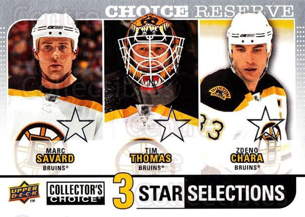 2008-09 Collectors Choice Reserve Silver #253 Marc Savard, Tim Thomas, Zdeno Chara<br/>2 In Stock - $2.00 each - <a href=https://centericecollectibles.foxycart.com/cart?name=2008-09%20Collectors%20Choice%20Reserve%20Silver%20%23253%20Marc%20Savard,%20Ti...&quantity_max=2&price=$2.00&code=526203 class=foxycart> Buy it now! </a>