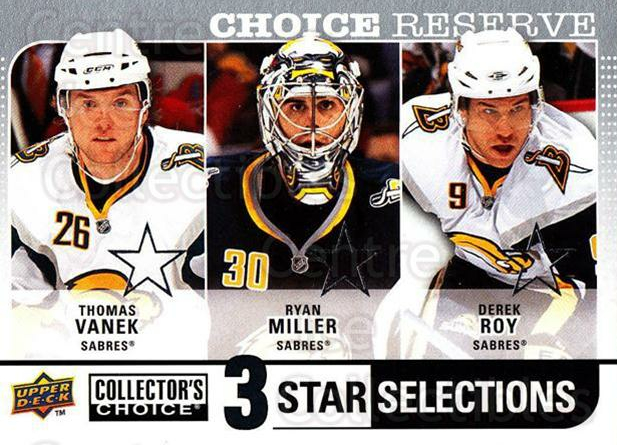 2008-09 Collectors Choice Reserve Silver #254 Thomas Vanek, Ryan Miller, Derek Roy<br/>2 In Stock - $2.00 each - <a href=https://centericecollectibles.foxycart.com/cart?name=2008-09%20Collectors%20Choice%20Reserve%20Silver%20%23254%20Thomas%20Vanek,%20R...&quantity_max=2&price=$2.00&code=526204 class=foxycart> Buy it now! </a>