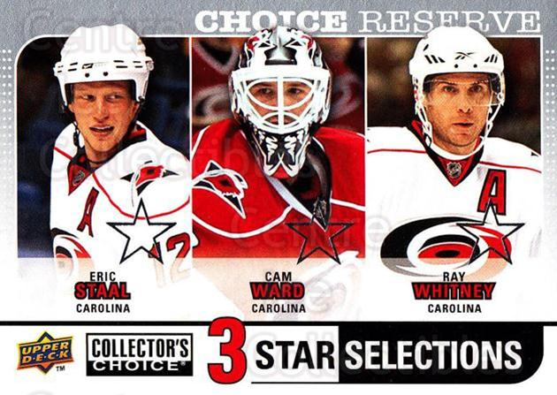 2008-09 Collectors Choice Reserve Silver #256 Eric Staal, Cam Ward, Ray Whitney<br/>1 In Stock - $2.00 each - <a href=https://centericecollectibles.foxycart.com/cart?name=2008-09%20Collectors%20Choice%20Reserve%20Silver%20%23256%20Eric%20Staal,%20Cam...&quantity_max=1&price=$2.00&code=526206 class=foxycart> Buy it now! </a>