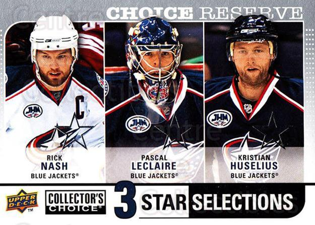 2008-09 Collectors Choice Reserve Silver #259 Rick Nash, Pascal Leclaire, Kristian Huselius<br/>2 In Stock - $2.00 each - <a href=https://centericecollectibles.foxycart.com/cart?name=2008-09%20Collectors%20Choice%20Reserve%20Silver%20%23259%20Rick%20Nash,%20Pasc...&quantity_max=2&price=$2.00&code=526209 class=foxycart> Buy it now! </a>