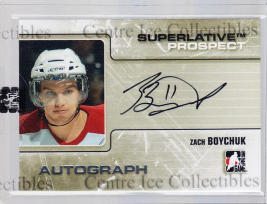 2009-10 ITG Superlative Prospect Auto Silver #PAZB Zach Boychuk<br/>1 In Stock - $10.00 each - <a href=https://centericecollectibles.foxycart.com/cart?name=2009-10%20ITG%20Superlative%20Prospect%20Auto%20Silver%20%23PAZB%20Zach%20Boychuk...&quantity_max=1&price=$10.00&code=532928 class=foxycart> Buy it now! </a>