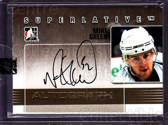 2009-10 ITG Superlative Auto Gold #AMG Mike Green<br/>1 In Stock - $20.00 each - <a href=https://centericecollectibles.foxycart.com/cart?name=2009-10%20ITG%20Superlative%20Auto%20Gold%20%23AMG%20Mike%20Green...&quantity_max=1&price=$20.00&code=532947 class=foxycart> Buy it now! </a>
