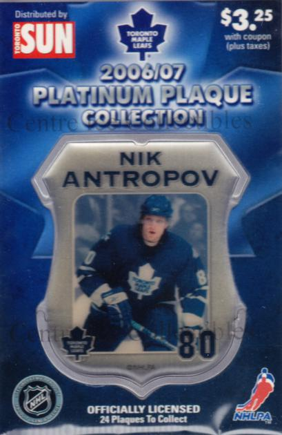 2006-07 Toronto Maple Leafs Legends Plaque Collection #1 Nik Antropov<br/>3 In Stock - $5.00 each - <a href=https://centericecollectibles.foxycart.com/cart?name=2006-07%20Toronto%20Maple%20Leafs%20Legends%20Plaque%20Collection%20%231%20Nik%20Antropov...&quantity_max=3&price=$5.00&code=533345 class=foxycart> Buy it now! </a>