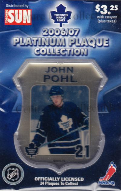 2006-07 Toronto Maple Leafs Legends Plaque Collection #14 John Pohl<br/>4 In Stock - $5.00 each - <a href=https://centericecollectibles.foxycart.com/cart?name=2006-07%20Toronto%20Maple%20Leafs%20Legends%20Plaque%20Collection%20%2314%20John%20Pohl...&quantity_max=4&price=$5.00&code=533358 class=foxycart> Buy it now! </a>