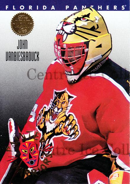 1993-94 Leaf Painted Warriors #8 John Vanbiesbrouck<br/>9 In Stock - $2.00 each - <a href=https://centericecollectibles.foxycart.com/cart?name=1993-94%20Leaf%20Painted%20Warriors%20%238%20John%20Vanbiesbro...&quantity_max=9&price=$2.00&code=533 class=foxycart> Buy it now! </a>