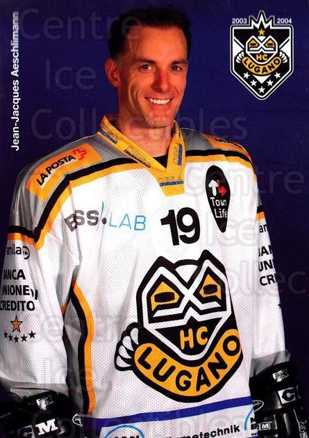 2003-04 Swiss HC Lugano Postcards #1 Jean-Jacques Aeschlimann<br/>1 In Stock - $3.00 each - <a href=https://centericecollectibles.foxycart.com/cart?name=2003-04%20Swiss%20HC%20Lugano%20Postcards%20%231%20Jean-Jacques%20Ae...&quantity_max=1&price=$3.00&code=534640 class=foxycart> Buy it now! </a>