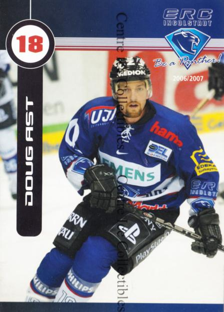 2006-07 German Ingolstadt ERC Postcards #2 Doug Ast<br/>1 In Stock - $3.00 each - <a href=https://centericecollectibles.foxycart.com/cart?name=2006-07%20German%20Ingolstadt%20ERC%20Postcards%20%232%20Doug%20Ast...&quantity_max=1&price=$3.00&code=534717 class=foxycart> Buy it now! </a>