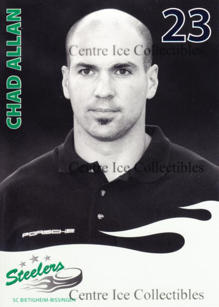 2006-07 German Bietigheim-Bissingen SC Steelers #1 Chad Allan<br/>1 In Stock - $3.00 each - <a href=https://centericecollectibles.foxycart.com/cart?name=2006-07%20German%20Bietigheim-Bissingen%20SC%20Steelers%20%231%20Chad%20Allan...&quantity_max=1&price=$3.00&code=534811 class=foxycart> Buy it now! </a>