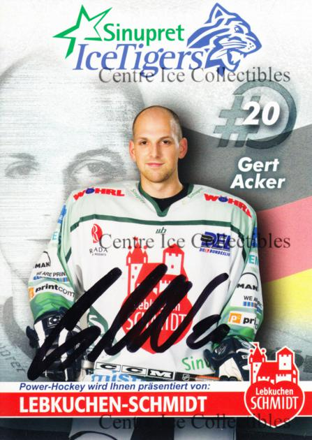 2006-07 German Sinupret Ice Tigers Postcards #1 Gert Acker<br/>1 In Stock - $3.00 each - <a href=https://centericecollectibles.foxycart.com/cart?name=2006-07%20German%20Sinupret%20Ice%20Tigers%20Postcards%20%231%20Gert%20Acker...&quantity_max=1&price=$3.00&code=534836 class=foxycart> Buy it now! </a>
