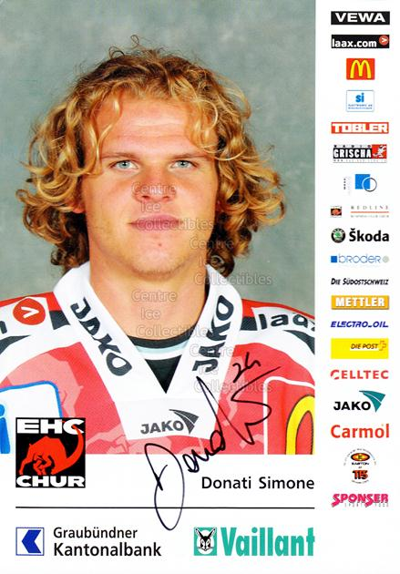 2004-05 Swiss EHC Chur Postcards #5 Simone Donati<br/>2 In Stock - $3.00 each - <a href=https://centericecollectibles.foxycart.com/cart?name=2004-05%20Swiss%20EHC%20Chur%20Postcards%20%235%20Simone%20Donati...&quantity_max=2&price=$3.00&code=535353 class=foxycart> Buy it now! </a>