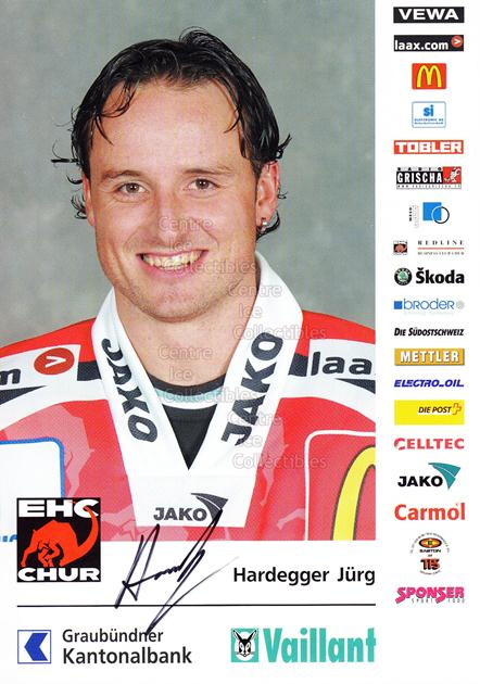 2004-05 Swiss EHC Chur Postcards #8 Jurg Hardegger<br/>2 In Stock - $3.00 each - <a href=https://centericecollectibles.foxycart.com/cart?name=2004-05%20Swiss%20EHC%20Chur%20Postcards%20%238%20Jurg%20Hardegger...&quantity_max=2&price=$3.00&code=535356 class=foxycart> Buy it now! </a>