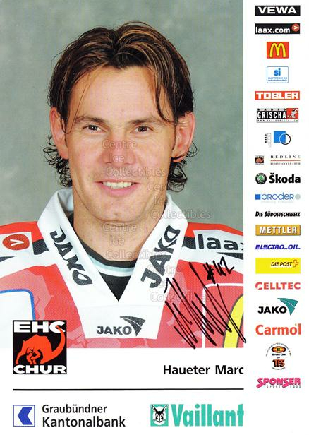 2004-05 Swiss EHC Chur Postcards #9 Marc Haueter<br/>2 In Stock - $3.00 each - <a href=https://centericecollectibles.foxycart.com/cart?name=2004-05%20Swiss%20EHC%20Chur%20Postcards%20%239%20Marc%20Haueter...&quantity_max=2&price=$3.00&code=535357 class=foxycart> Buy it now! </a>