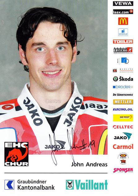 2004-05 Swiss EHC Chur Postcards #11 Andreas John<br/>2 In Stock - $3.00 each - <a href=https://centericecollectibles.foxycart.com/cart?name=2004-05%20Swiss%20EHC%20Chur%20Postcards%20%2311%20Andreas%20John...&quantity_max=2&price=$3.00&code=535359 class=foxycart> Buy it now! </a>