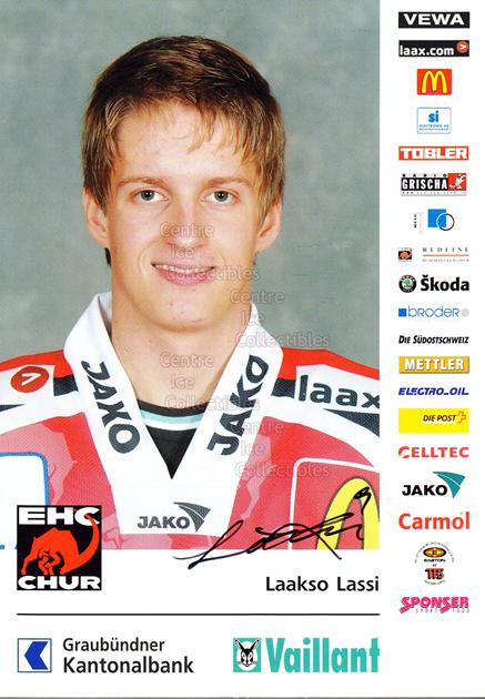 2004-05 Swiss EHC Chur Postcards #13 Lassi Laakso<br/>2 In Stock - $3.00 each - <a href=https://centericecollectibles.foxycart.com/cart?name=2004-05%20Swiss%20EHC%20Chur%20Postcards%20%2313%20Lassi%20Laakso...&quantity_max=2&price=$3.00&code=535361 class=foxycart> Buy it now! </a>