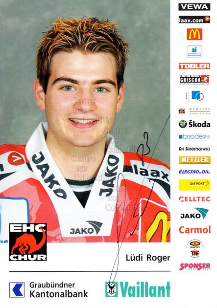 2004-05 Swiss EHC Chur Postcards #14 Roger Ludi<br/>1 In Stock - $3.00 each - <a href=https://centericecollectibles.foxycart.com/cart?name=2004-05%20Swiss%20EHC%20Chur%20Postcards%20%2314%20Roger%20Ludi...&quantity_max=1&price=$3.00&code=535362 class=foxycart> Buy it now! </a>