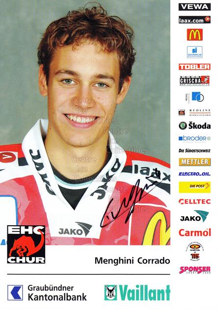 2004-05 Swiss EHC Chur Postcards #15 Corrado Menghini<br/>2 In Stock - $3.00 each - <a href=https://centericecollectibles.foxycart.com/cart?name=2004-05%20Swiss%20EHC%20Chur%20Postcards%20%2315%20Corrado%20Menghin...&quantity_max=2&price=$3.00&code=535363 class=foxycart> Buy it now! </a>