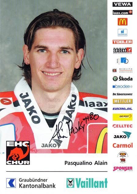 2004-05 Swiss EHC Chur Postcards #19 Alain Pasqualino<br/>2 In Stock - $3.00 each - <a href=https://centericecollectibles.foxycart.com/cart?name=2004-05%20Swiss%20EHC%20Chur%20Postcards%20%2319%20Alain%20Pasqualin...&quantity_max=2&price=$3.00&code=535367 class=foxycart> Buy it now! </a>