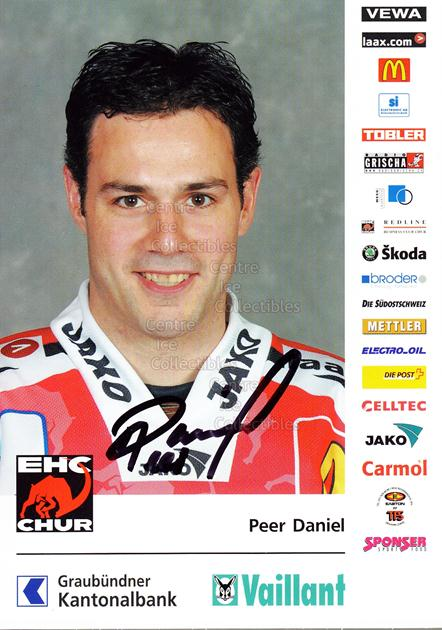 2004-05 Swiss EHC Chur Postcards #20 Daniel Peer<br/>2 In Stock - $3.00 each - <a href=https://centericecollectibles.foxycart.com/cart?name=2004-05%20Swiss%20EHC%20Chur%20Postcards%20%2320%20Daniel%20Peer...&quantity_max=2&price=$3.00&code=535368 class=foxycart> Buy it now! </a>