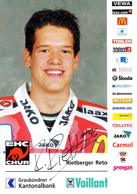2004-05 Swiss EHC Chur Postcards #21 Reto Rietberger<br/>2 In Stock - $3.00 each - <a href=https://centericecollectibles.foxycart.com/cart?name=2004-05%20Swiss%20EHC%20Chur%20Postcards%20%2321%20Reto%20Rietberger...&quantity_max=2&price=$3.00&code=535369 class=foxycart> Buy it now! </a>