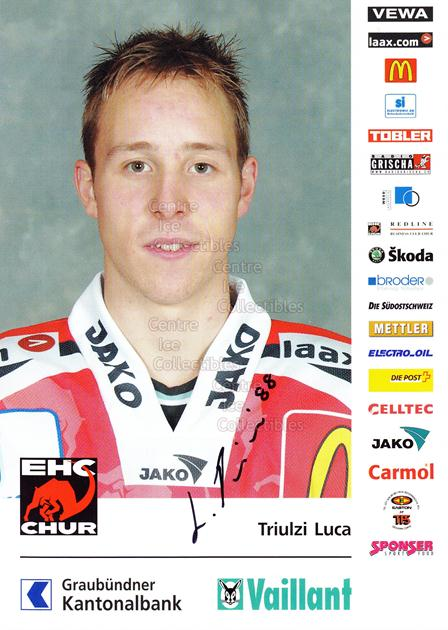 2004-05 Swiss EHC Chur Postcards #23 Luca Triulzi<br/>2 In Stock - $3.00 each - <a href=https://centericecollectibles.foxycart.com/cart?name=2004-05%20Swiss%20EHC%20Chur%20Postcards%20%2323%20Luca%20Triulzi...&quantity_max=2&price=$3.00&code=535370 class=foxycart> Buy it now! </a>