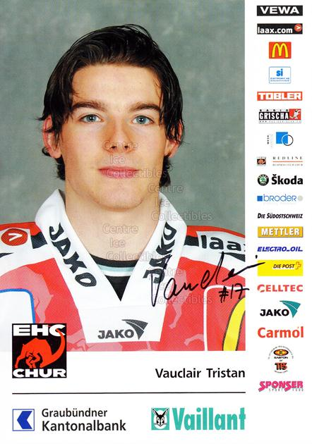 2004-05 Swiss EHC Chur Postcards #24 Tristan Vauclair<br/>2 In Stock - $3.00 each - <a href=https://centericecollectibles.foxycart.com/cart?name=2004-05%20Swiss%20EHC%20Chur%20Postcards%20%2324%20Tristan%20Vauclai...&quantity_max=2&price=$3.00&code=535371 class=foxycart> Buy it now! </a>