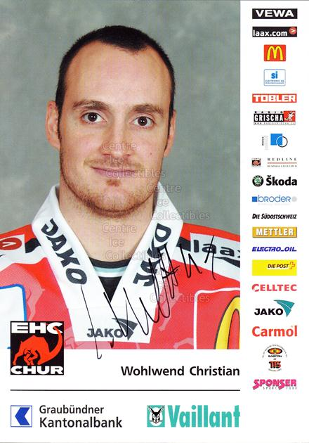2004-05 Swiss EHC Chur Postcards #25 Christian Wohlwend<br/>1 In Stock - $3.00 each - <a href=https://centericecollectibles.foxycart.com/cart?name=2004-05%20Swiss%20EHC%20Chur%20Postcards%20%2325%20Christian%20Wohlw...&quantity_max=1&price=$3.00&code=535372 class=foxycart> Buy it now! </a>