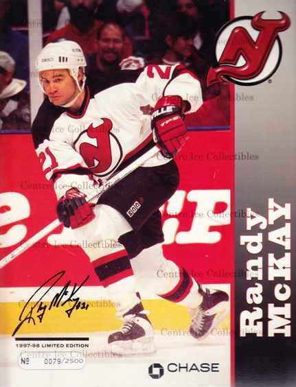 1997-98 New Jersey Devils Line-Up Cards #15 Randy McKay<br/>1 In Stock - $10.00 each - <a href=https://centericecollectibles.foxycart.com/cart?name=1997-98%20New%20Jersey%20Devils%20Line-Up%20Cards%20%2315%20Randy%20McKay...&quantity_max=1&price=$10.00&code=536146 class=foxycart> Buy it now! </a>