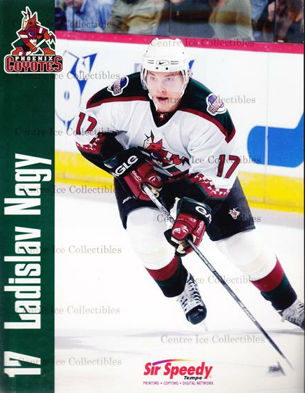 2001-02 Phoenix Coyotes Line-Up Cards #14 Ladislav Nagy<br/>1 In Stock - $10.00 each - <a href=https://centericecollectibles.foxycart.com/cart?name=2001-02%20Phoenix%20Coyotes%20Line-Up%20Cards%20%2314%20Ladislav%20Nagy...&quantity_max=1&price=$10.00&code=536173 class=foxycart> Buy it now! </a>