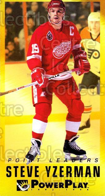 1993-94 PowerPlay Point Leaders #20 Steve Yzerman<br/>15 In Stock - $3.00 each - <a href=https://centericecollectibles.foxycart.com/cart?name=1993-94%20PowerPlay%20Point%20Leaders%20%2320%20Steve%20Yzerman...&price=$3.00&code=5368 class=foxycart> Buy it now! </a>