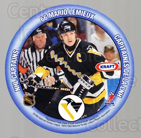1993-94 Kraft Peanut Butter Discs NHL Captains #9 Mario Lemieux, Mark Messier<br/>9 In Stock - $5.00 each - <a href=https://centericecollectibles.foxycart.com/cart?name=1993-94%20Kraft%20Peanut%20Butter%20Discs%20NHL%20Captains%20%239%20Mario%20Lemieux,%20...&price=$5.00&code=537266 class=foxycart> Buy it now! </a>