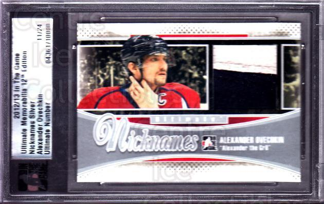 2012-13 ITG Ultimate Memorabilia Nicknames Jersey #15 Alexander Ovechkin<br/>1 In Stock - $20.00 each - <a href=https://centericecollectibles.foxycart.com/cart?name=2012-13%20ITG%20Ultimate%20Memorabilia%20Nicknames%20Jersey%20%2315%20Alexander%20Ovech...&price=$20.00&code=537792 class=foxycart> Buy it now! </a>