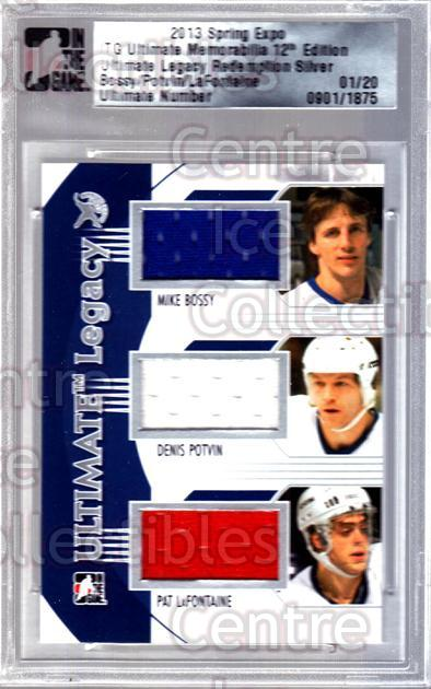 2013 ITG Ultimate Memorabilia Legacy Spring Expo #37 Mike Bossy, Denis Potvin, Pat LaFontaine<br/>1 In Stock - $15.00 each - <a href=https://centericecollectibles.foxycart.com/cart?name=2013%20ITG%20Ultimate%20Memorabilia%20Legacy%20Spring%20Expo%20%2337%20Mike%20Bossy,%20Den...&price=$15.00&code=537834 class=foxycart> Buy it now! </a>