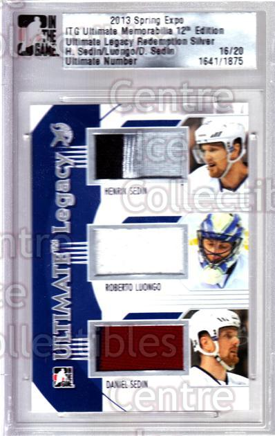 2013 ITG Ultimate Memorabilia Legacy Spring Expo #66 Henrik Sedin, Roberto Luongo, Daniel Sedin<br/>1 In Stock - $25.00 each - <a href=https://centericecollectibles.foxycart.com/cart?name=2013%20ITG%20Ultimate%20Memorabilia%20Legacy%20Spring%20Expo%20%2366%20Henrik%20Sedin,%20R...&price=$25.00&code=537863 class=foxycart> Buy it now! </a>
