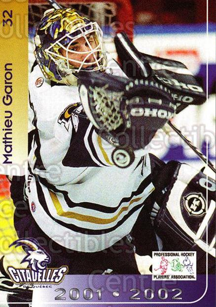 2001-02 Quebec Citadelles #16 Mathieu Garon<br/>1 In Stock - $3.00 each - <a href=https://centericecollectibles.foxycart.com/cart?name=2001-02%20Quebec%20Citadelles%20%2316%20Mathieu%20Garon...&quantity_max=1&price=$3.00&code=537965 class=foxycart> Buy it now! </a>