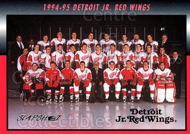 1994-95 Detroit Jr. Red Wings #1 Team Photo, Checklist<br/>4 In Stock - $2.00 each - <a href=https://centericecollectibles.foxycart.com/cart?name=1994-95%20Detroit%20Jr.%20Red%20Wings%20%231%20Team%20Photo,%20Che...&price=$2.00&code=538168 class=foxycart> Buy it now! </a>