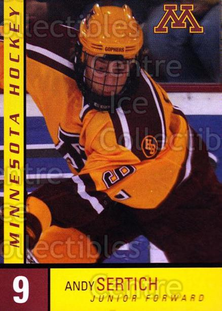 2004-05 Minnesota Golden Gophers #22 Andy Sertich<br/>3 In Stock - $3.00 each - <a href=https://centericecollectibles.foxycart.com/cart?name=2004-05%20Minnesota%20Golden%20Gophers%20%2322%20Andy%20Sertich...&quantity_max=3&price=$3.00&code=538288 class=foxycart> Buy it now! </a>