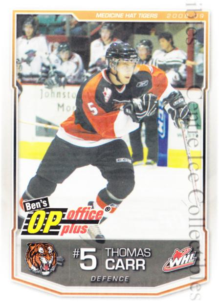 2008-09 Medicine Hat Tigers #5 Thomas Carr<br/>3 In Stock - $3.00 each - <a href=https://centericecollectibles.foxycart.com/cart?name=2008-09%20Medicine%20Hat%20Tigers%20%235%20Thomas%20Carr...&quantity_max=3&price=$3.00&code=538329 class=foxycart> Buy it now! </a>