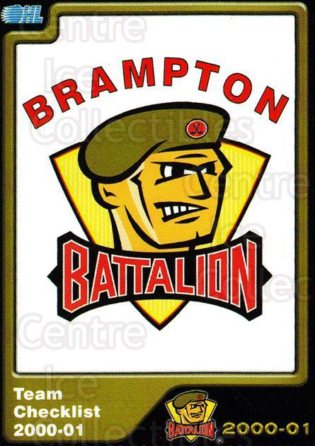 2000-01 Brampton Battalion #1 Header Card, Checklist<br/>1 In Stock - $3.00 each - <a href=https://centericecollectibles.foxycart.com/cart?name=2000-01%20Brampton%20Battalion%20%231%20Header%20Card,%20Ch...&price=$3.00&code=539111 class=foxycart> Buy it now! </a>