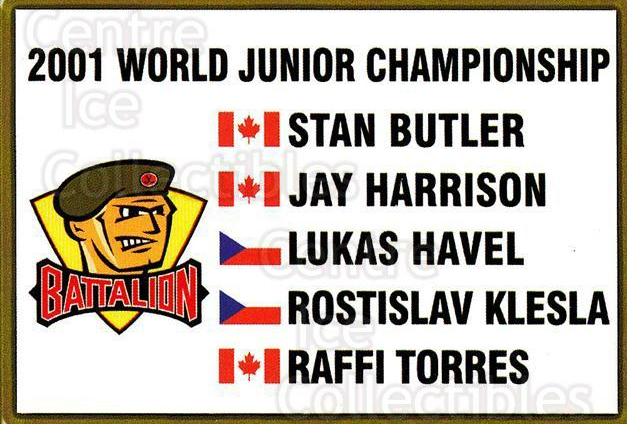 2000-01 Brampton Battalion #3 World Junior, Checklist<br/>4 In Stock - $3.00 each - <a href=https://centericecollectibles.foxycart.com/cart?name=2000-01%20Brampton%20Battalion%20%233%20World%20Junior,%20C...&price=$3.00&code=539113 class=foxycart> Buy it now! </a>
