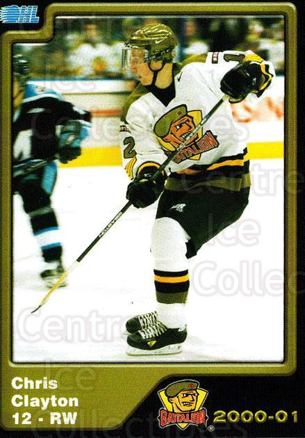 2000-01 Brampton Battalion #12 Chris Clayton<br/>5 In Stock - $3.00 each - <a href=https://centericecollectibles.foxycart.com/cart?name=2000-01%20Brampton%20Battalion%20%2312%20Chris%20Clayton...&price=$3.00&code=539122 class=foxycart> Buy it now! </a>