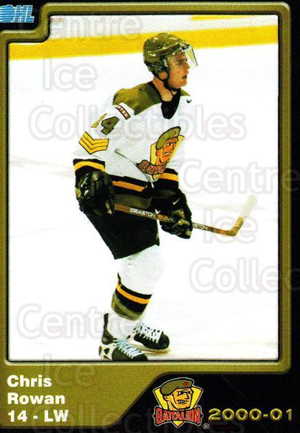 2000-01 Brampton Battalion #13 Chris Rowan<br/>4 In Stock - $3.00 each - <a href=https://centericecollectibles.foxycart.com/cart?name=2000-01%20Brampton%20Battalion%20%2313%20Chris%20Rowan...&price=$3.00&code=539123 class=foxycart> Buy it now! </a>