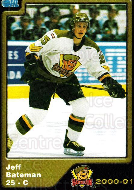 2000-01 Brampton Battalion #21 Jeff Bateman<br/>1 In Stock - $3.00 each - <a href=https://centericecollectibles.foxycart.com/cart?name=2000-01%20Brampton%20Battalion%20%2321%20Jeff%20Bateman...&price=$3.00&code=539131 class=foxycart> Buy it now! </a>