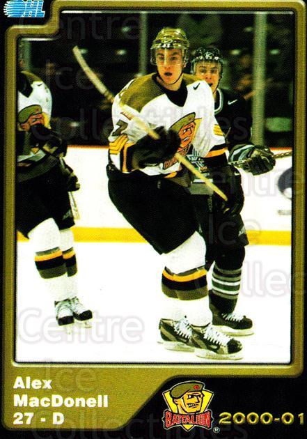 2000-01 Brampton Battalion #23 Alex MacDonell<br/>1 In Stock - $3.00 each - <a href=https://centericecollectibles.foxycart.com/cart?name=2000-01%20Brampton%20Battalion%20%2323%20Alex%20MacDonell...&price=$3.00&code=539133 class=foxycart> Buy it now! </a>