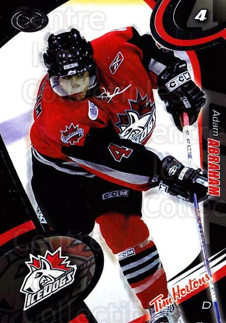 2004-05 Mississauga Ice Dogs #3 Adam Abraham<br/>8 In Stock - $3.00 each - <a href=https://centericecollectibles.foxycart.com/cart?name=2004-05%20Mississauga%20Ice%20Dogs%20%233%20Adam%20Abraham...&quantity_max=8&price=$3.00&code=539430 class=foxycart> Buy it now! </a>