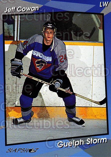 1993-94 Guelph Storm #20 Jeff Cowan<br/>3 In Stock - $3.00 each - <a href=https://centericecollectibles.foxycart.com/cart?name=1993-94%20Guelph%20Storm%20%2320%20Jeff%20Cowan...&quantity_max=3&price=$3.00&code=539572 class=foxycart> Buy it now! </a>