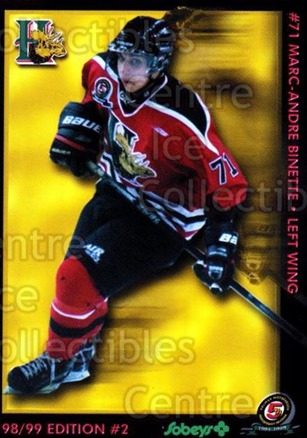 1998-99 Halifax Mooseheads Series Two #3 Marc-Andre Binette<br/>7 In Stock - $3.00 each - <a href=https://centericecollectibles.foxycart.com/cart?name=1998-99%20Halifax%20Mooseheads%20Series%20Two%20%233%20Marc-Andre%20Bine...&quantity_max=7&price=$3.00&code=539832 class=foxycart> Buy it now! </a>